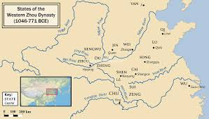 China Rivers Map by States Of The Western Zhou Dynasty 1046 771 Bce English Map