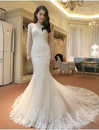 wedding dress korean stunning sleeve lace wedding dresses 2018 mermaid with