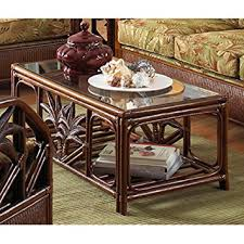 cancun palm end table amazon com cancun palm rattan wicker coffee table w glass