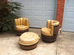 barrel chair with ottoman sold vintage rustic wine whiskey barrel chairs ottoman retroexit