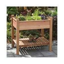 raised garden bed cedar wood planter elevated gardening herb