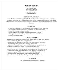 Resume Examples For College Students With Work Experience by Professional Head Start Teacher Templates To Showcase Your Talent