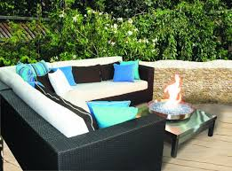Patio Furniture With Gas Fire Pit by Corner Patio Deisgn With Sectional Sofas And Small Gas Fire Pit