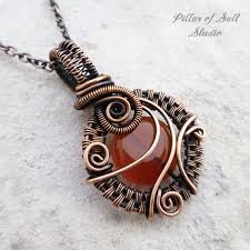 long red pendant necklace images Small red carnelian copper woven wire wrapped pendant necklace jpg