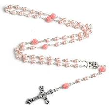 buy rosary pink rosary with lourdes medal buy 1 get 2 free catholic e