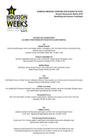 houston restaurant weeks menu 2017 karbach brewing company