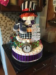 mad hatter diaper cake alice in wonderland theme my diaper cakes