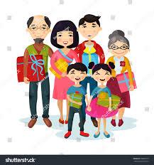 happy family gifts children stock vector 558896719