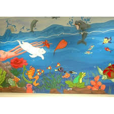 themed paintings theme based wall paintings aquarium themed wall painting