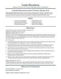 resume exles for teachers elementary school resume template