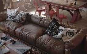 home design brown leather sofa furniture den loft that show off