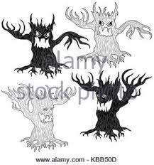 angry evil twisted tree with branches as a