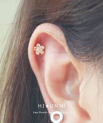 bar earring cartilage 16g cz sparkling flower ear piercing stud barbell ear cartilage