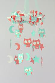 small owl nursery mobile in aqua coral u0026 white baby mobile crib