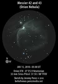 messier 42 and messier 43 the orion nebula belt of venus