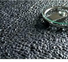 glazed charcoal black pebble tile pebble tiles and spa bathrooms