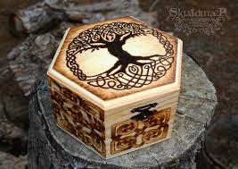 celtic viking tree of pyrography box by skjaldmaerpyrography