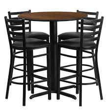 round table bar bar height round dining table set with 4 bar stool chairs