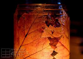 Decorating With Fall Leaves - decorating with autumn leaves door garland and candle jars