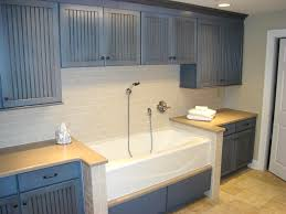 Sinks For Laundry Rooms by Neat Idea Blue Painted Craftsman Cupboards Tub Like A Farmer U0027s