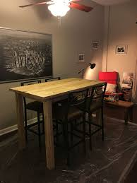 diy bar height table diy bar height farmhouse table lumber supplies from lowe s cost