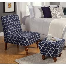 ottoman and accent chair homepop slipper blue cream quatrefoil accent chair and ottoman