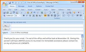 absence bureau outlook exles of office emails out of office 2007 mail png