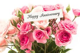 happy anniversary cards happy anniversary card with bouquet of pink roses stock photo