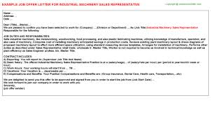 industrial machinery sales representative offer letter