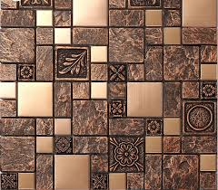 mosaic tile kitchen backsplash brushed stainless steel tiles brass resin metal mosaic tile