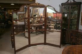 three panel room divider or screen mirror and mahogany early 19th