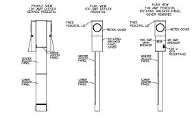 100 amp metered mobile home electrical service pedestal