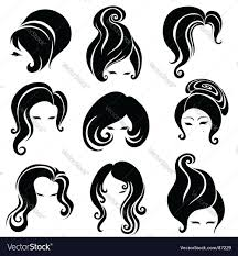 big set of black hair styling for woman royalty free vector