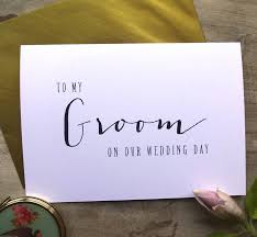 Wedding Day Card Modern Text U0027to My Groom On Our Wedding Day U0027 Card By Sweet Pea