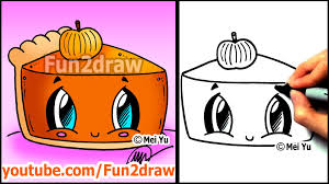 how to draw thanksgiving things cute pumpkin pie fun2draw food