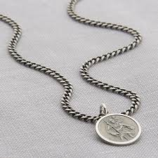 mens engraved necklaces personalised silver st christopher curb necklace by hurleyburley