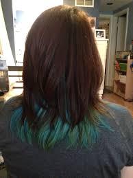 blue green mermaid hair peekaboo style under brown auburn layers