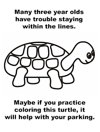 bad parking turtle coloring coloring