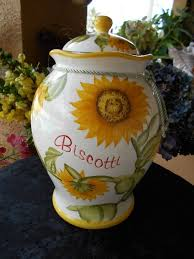 sunflower kitchen canisters vintage collectible nonnis biscotti cookie jar sunflowers kitchen