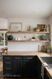 diy kitchen shelves kitchen reveal with dark cabinets and open shelving bigger than