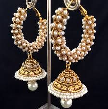 jhumka earrings hoop earrings luxurious fashion jewelry pearls