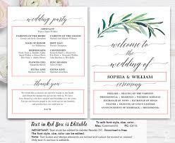 Images Of Wedding Programs Greenery Wedding Program Template Printable Wedding Programs