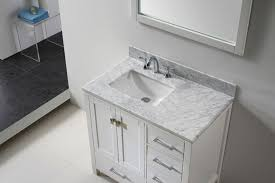 White Bath Vanity With Top Transitional 36 Inch White Bathroom Vanity With White Carrera