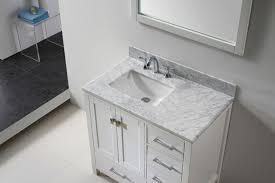 White Carrera Marble Bathroom - transitional 36 inch white bathroom vanity with white carrera