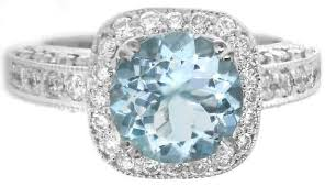 aquamarine and diamond ring aquamarine and diamond halo engagement ring and wedding band