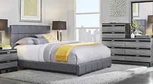 gardenia silver 5 pc queen bedroom with gray upholstered bed