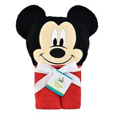 disney mickey mouse hooded towel in red black buybuy baby