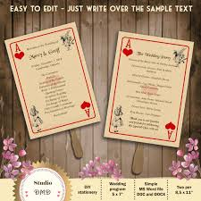 Playing Card Design Template Printable Wedding Program Template U2013 Alice In Wonderland U2013 Playing