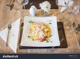Table Settings For Dinner Table Setting Dinner Pasta Carbonara Stock Photo 201794105