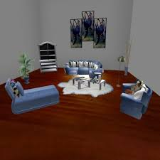 second life marketplace blue suede couch
